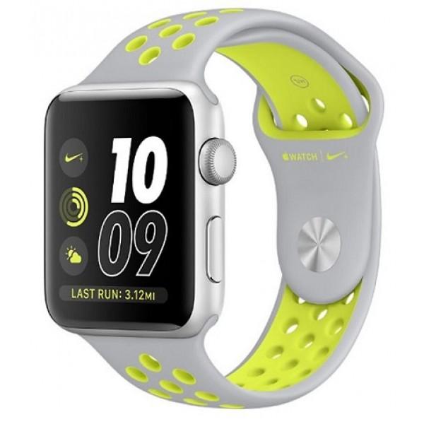 Apple Watch Series 2 - Nike+ 42mm Silver Aluminum Nike Sport Band Flat  Silver/Volt (MNYQ2)