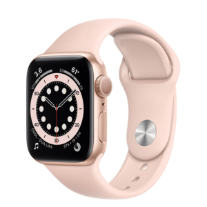 Apple Watch Series 6 Gold Aluminum Case with Pink Sport Band